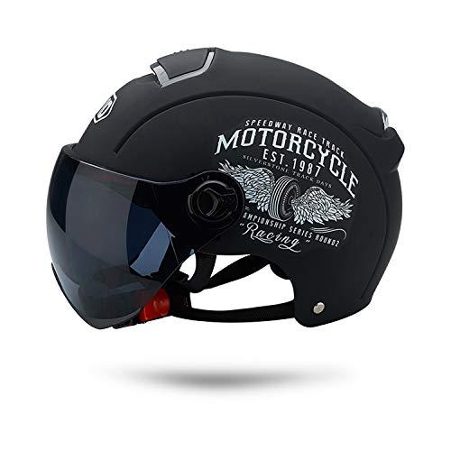 Galatée Cascos de Motocicleta Para Hombres y Mujeres, Ciclomotor Cascos Con Visera Reflectante.El cabezal anticolisión protege la seguridad vial de los usuarios(Negro mate)