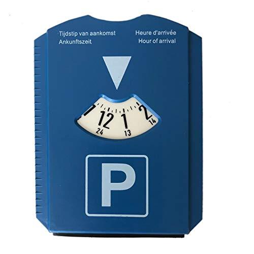 Megaprom Auto Pkw 24-Stunden Parkscheibe mit Eiskratzer, Eisschaber Parkzone, Parkuhr mit Gummilippe aus Kunstoff