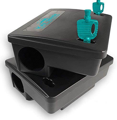 Kat Sense Rat Bait Station Traps, Reusable Humane Pest Box Against Mouses Chipmunks N Squirrels That Work, Smart Tamper Proof Cage House to Secure Bait Block N Pellets, Outdoor Rodent Control