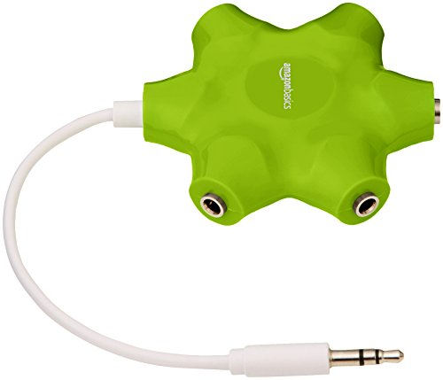 Amazon Basics 5-Way Multi Headphone Splitter, Lime Green, 5-Pack