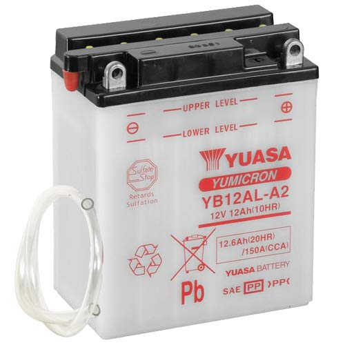 Batterie YUASA YB12AL-A2 (DC) offen ohne Säure, 12V|12Ah|CCA:150A (134x80x160mm) für Yamaha XV535S Virago Baujahr 1997