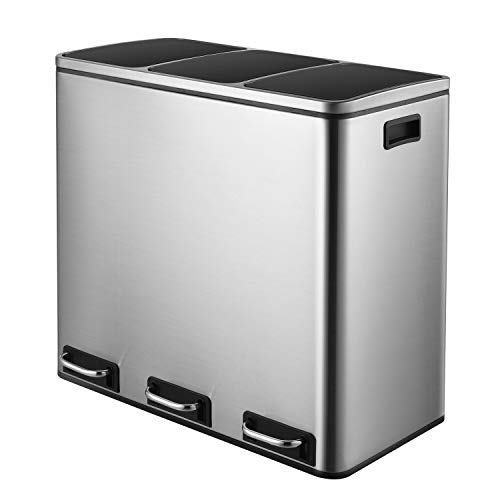 HEMBOR Trash Can, 14.3 Gallon (3X17L) Pedal Step Rubbish Bin, Stainless Steel Compartment Classified Recycle Garbage Dustbin, with Removable Inner Buckets and Handles, Soft Silent Lid Close