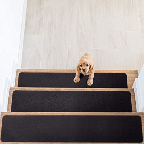 Tappeto antiscivolo Pedate per scale, set di 14, tappetino antiscivolo per presa e bellezza. Antiscivolo di sicurezza per bambini, anziani e cani, adesivo pre-applicato 15x76 cm (Nero)