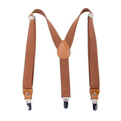 Hosentrager Gurtel fur Kinder Erwachsene - Elastisch Einstellbar Y geformt Braunes Leder 3 Clips auf dem Hosentrager