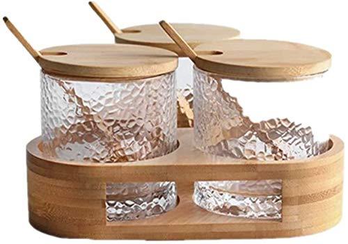Syxfckc 3 Flaschen Parfüm Halter-Aufbewahrungsbehälter Bambus, Bambusrahmen mit Kräutern und Gewürzen in Gläsern Halter 3, der Tabelle Storage Box Gewürze