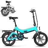 0℃ Outdoor 14 Pulgadas Bicicleta Eléctrica Plegable, E-Bike con Pedales, Batería Extraíble para Adultos, 36 V Ciclomotor Eléctrico Asistido, Rango de 50-150 KM para Desplazamientos,Azul,50~100km