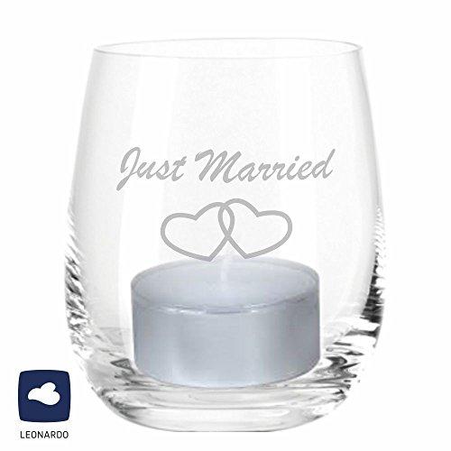 4you Design Leonardo Windlicht Just Married mit Herzen, Windlicht mit Spruch, Teelichtleuchter, Glaswindlicht, Geschenkidee, Hochzeitsgeschenk (Glas)
