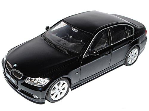 B-M-W 3er E90 Limousine Schwarz 2005-2012 1/24 Welly Modell Auto mit individiuellem Wunschkennzeichen