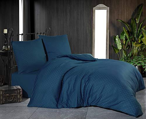 Damast Jacquard Mako Satin Bettwäsche Bettgarnitur Set Bettdeckenbezug 100 % Baumwolle Qualität mit Reißverschluss Kopfkissenbezug 80x80 cm Oeko-TEX (Jacquard Petrol, 220 x 240 cm)