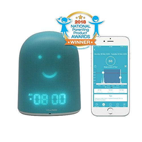 UrbanHello REMI - 5-in-1 Baby and Children Sleep Tracker - Sleep Training Clock - Night Light & Music - Bluetooth speaker - Secure Two-Way Communication Baby Monitor - Sleep Trainer - Blue Color
