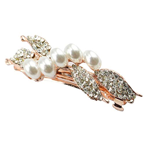 SONGAI Gold Tone Metal Alloy Hair Clip Claw Crystal Pearl Barrettes Women Headdress,Colour Name:Purple Bracelets Earrings Rings Necklaces (Color : White)
