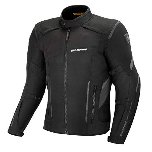 Shima RUSH Chaqueta Moto Hombre -Toda Estaciones Cazadora Moto Textil Hombre de 3 capas con membrana impemeable capa calefactora CE espalda, hombros, codos protecciones (Negro, XL)