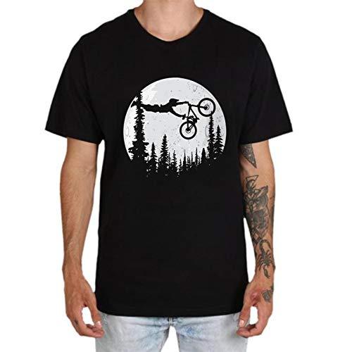 Maglietta da uomo, a maniche corte, con scollo rotondo e stampa di biciclette Cross Country Tops estivo, elegante polo da ciclismo Nero XXL