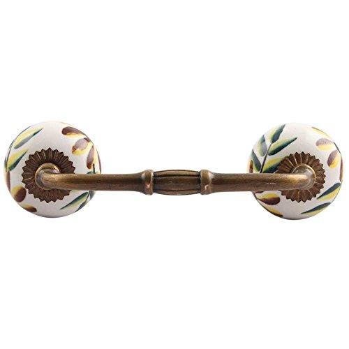Indinsheld, diseño hecho a mano, paquete de 4 tiradores de armario de cerámica con diseño de hoja de condado (6 pulgadas)