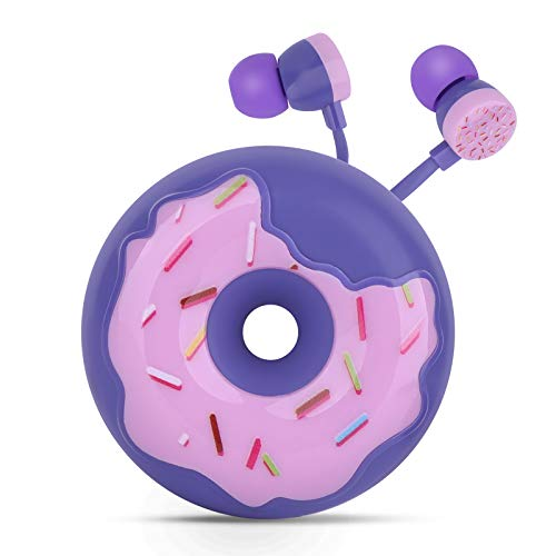 QearFun Donut Earbuds for Kids, Cute Earbud & in-Ear Headphones Wired Gift for School Girls and Boys with Microphone and Lovely Earphones Storage Case