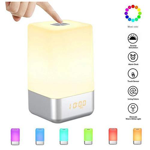 Wekker met licht, digitale wekker, nachtlampje met touch-sensor, led-nachtlampje, 5 soorten natuurlijk geluid, simulatie van zonsopgang, 3 helderheden, beste cadeau, oplaadbaar via USB.