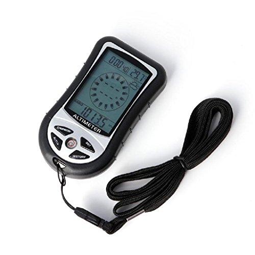 Kcnsieou Digital Barómetro Brújula Digital Pronóstico del Tiempo Digital 8 en 1 LCD Brújula Barómetro Altímetro Termo Temperatura Reloj Calendario