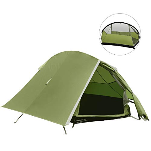 BACKTURE Pop up Campingzelt, Ultraleichte 1-2 Personen Campingzelt Wasserdicht UV-Schutz, Doppeltür Belüftet Zelte, Outdoor/Camping Campingzelt mit Tragetasche für Trekking, Camping Festival