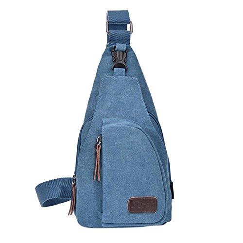 Ducomi® West Marsupio di Tela Zaino Unisex Monospalla Multifunzionale in Resistente Canvas Pratico e Ideale per Viaggiare, Campeggio, Escursionismo (Light blue)
