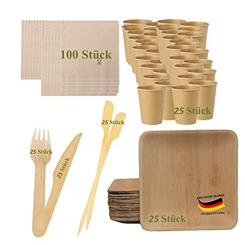 BIOQUQ Vajilla desechable Bio 225 piezas, platos desechables y cubiertos desechables.