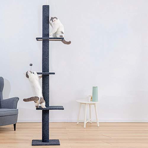 YEEXCD kat boom toren kat krabpaal vloer tot plafond krabber gedekt zacht glad pluche kat activiteit centrum voor het spelen van ontspannen en slapen