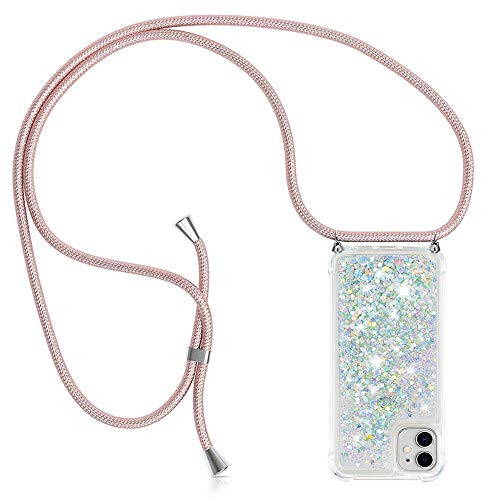 YuhooTech Handykette Kompatibel mit iPhone 11 (6.1) - Glitzer Hülle Flüssig Bewegende Treibsand Transparent Handyhülle - Smartphone Necklace Case Band Gradient Quicksand Cover