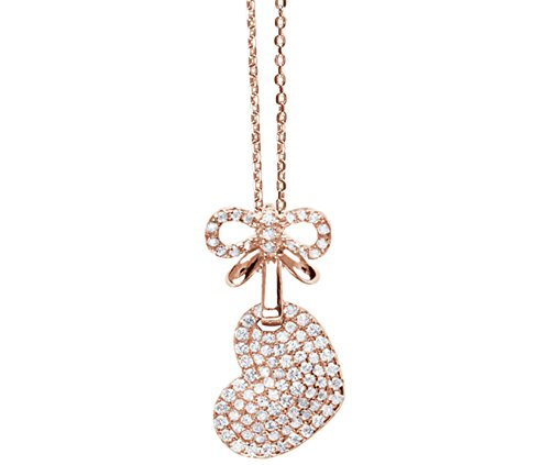 Tresor Paris Allure Heart Sterling Silver & White Crystal Necklace Pendant With Sterling Silver Chain 021922