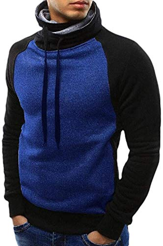 SDKJH Mens Classic Fit Funnel Neck Slim Pullover Color Block Drawstring Sweatshirt,Blue,Large