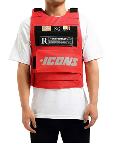 HUDSON Outerwear Men's Icon Reflective Fashion Vest with Adjustable Velcro Straps and Patches, Red