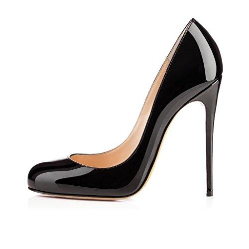 EDEFS Damen 120mm Extreme Sky Heels Lack Pumps Runde Zehen Geschlossen Stilettos Schuhe Schwarz Größe EU39