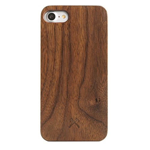 Woodcessories - Cover Compatibile con iPhone SE (2020) / 8/7 di Legno Naturale - Custodia EcoCase Classic (Noce/Nero)