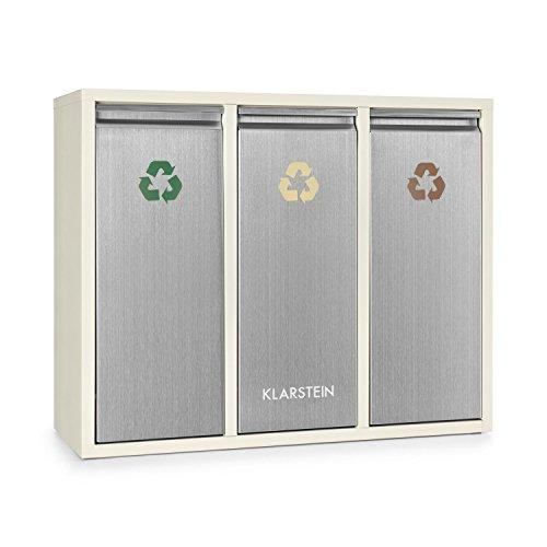 Klarstein Ordnungshüter 3 - Mülltrennsystem, Mülleimer, Mülltrenner, 45 Liter (3 x 15 L), Frontklappen mit Griff, Edelstahlgehäuse, farbliche Kennzeichnung, Recycling, creme-silber