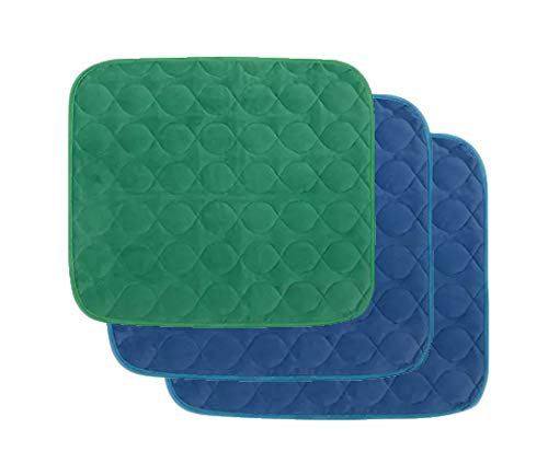 Platinum Care Pads Velvet Opulence Premium Comfort Chair Pad/Underpad Washable Size - 18X24 - Pack of 3 (2 Blue 1 Green)