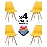 Due-Home - Beench - Pack 4 sillas Tower Madera Haya, sillas de Comedor Estilo nordico, Medidas: 83 cm (Alto) x 49 (Ancho) cm x 53.5 cm (Fondo) (Mostaza)