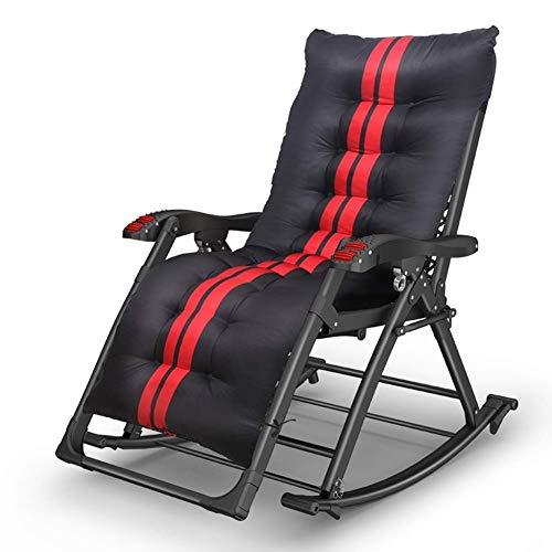 WJSW Sun Lounger Heavy Duty Loungesessel Relax Chair - Bequemer tragbarer Klappschaukelstuhl für alte Männer und Kinder (Farbe: Schwarz 2)