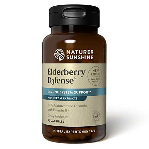 Natures Sunshine Elderberry D3fense, 90 Capsules   Elderberry Supplement with Powerful Vitamin D, Sambucus Elderberry and Echinacea to Support The Immune and Respiratory Systems
