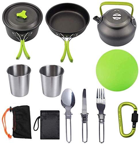 Kyman - Juego de utensilios de cocina para acampada con tazas de hervidor de agua, juego de cocina antiadherente y sartenes, juego de vajilla de aluminio para 2 personas, para picnic, senderismo, aventura