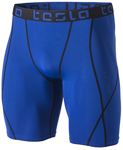 TSLA Men's Athletic Compression Shorts, Sports Performance Active Cool Dry Running Tights, Athletic Shorts Blue, Large
