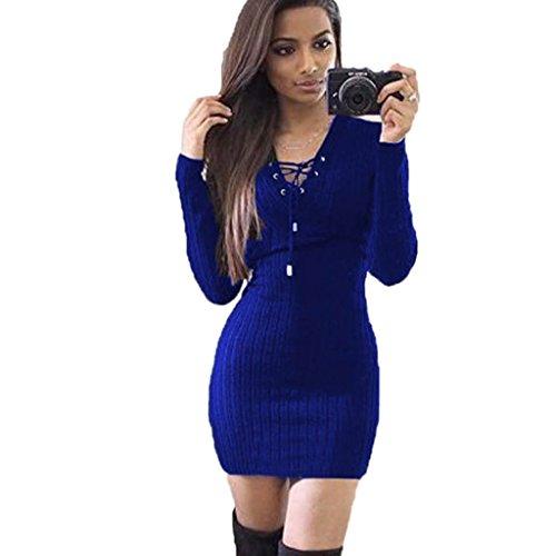 Amlaiworld Damen unregelmäßige Perspektive ärmel hoher Kragen figurbetontes Kleid, Neue Herbst&Winter warme Pullover Kleid (M, A,Blau)