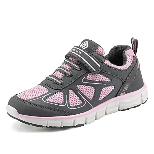 DREAM PAIRS 151003 Boys Girls Athletic Sneakers Outdoor Mesh Light Weight Sport Running Walking Shoes Grey Pink White Size 7 Toddler