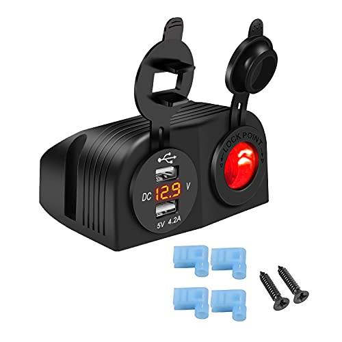 Impermeabile per Moto 4.2A Doppio Caricatore USB + Presa Accendisigari 12V/24V Pannello Tenda a Due Fori, con Voltmetro LED, per Auto, Barche, Camper(Rosso)