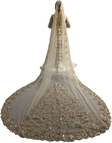 Faithclover Wedding Veils Cathedral Length 1 Tier Sequins Lace Applique with Comb product image