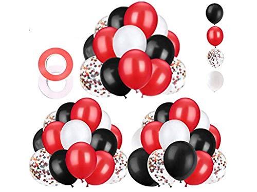 GuassLee Juego de 62 globos de confeti, color negro, rojo, blanco, de 30,5 cm, con cinta de globo, para baby shower, cumpleaños, quinceañera, graduación, fiestas, suministros