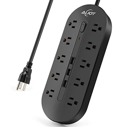 AiJoy Surge Protector Power Strip, Extension Cord 10 FT with 10 Outlets and 3 USB Fast Charging Ports, Outlet Strip with Switch, 3000W/13A
