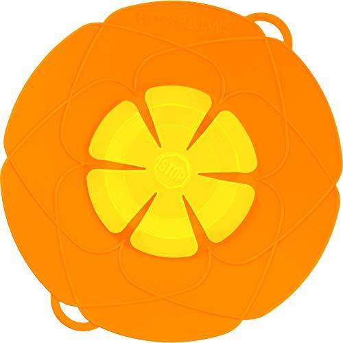 Kochblume das Original, Silikon Überkochschutz für Töpfe und Pfannen, Mikrowellen-Deckel, Spritzschutz und Dampfgar-Aufsatz | Set mit Zipptasche in der pinken Box (orange, M | Topfgröße 14-20cm)