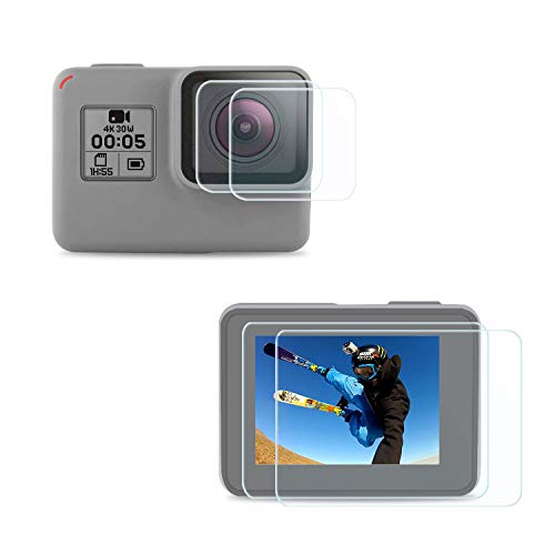 FitStill Gopro Hero 7 Black /6 /5 (2018) に適用強化ガラスフィルムセット アンチスクラッチ | 4個スクリーンプロテクター | シリコン保護レンズカバー | メイン画面用2枚 + サブ画面用2枚