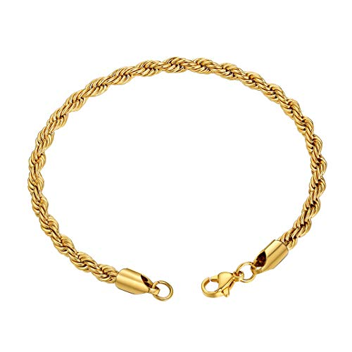 GoldChic Jewelry Gold Rope Chain Bracelet, 3mm Chunky Men Twist Link, 21CM