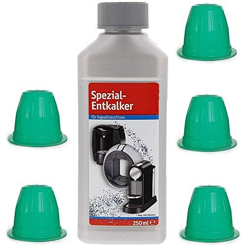 TronicXL Entkalker Kalklöser Set für 5 Stück Kapselmaschine Reinigungskapseln Flüssig reiniger kompatibel mit Nespresso Kapsel De'Longhi DeLonghi EN 80.CW 550.BM 170.S 155.S EN350 EN355 Delongi