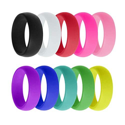 P Prettyia 10 Stück Silikon Ring, Gummi Ehering, Hautfreundlich Ring, Herren Silikonring - Bunt - US Size6