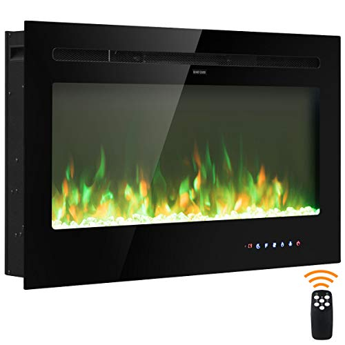 """COSTWAY 36"""" Elektrokamin, Kaminheizung mit Touchscreen & Fernbedienung, Wandkamin elektrisch Flammen in 9 Farben mit 5 Helligkeitsstufen, 16-28 ℃ Temperaturregelung / 0,5-8h Timer (900W / 1800W)"""